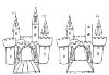 A castle with a drawbridge, which is extended. You look through the entrance, as it were in the castle. It has two small towers next to the entrance. And three towers that stand behind it. They have pointed ends and have a flag in their top ...