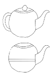 classical teapot with the spout to the right